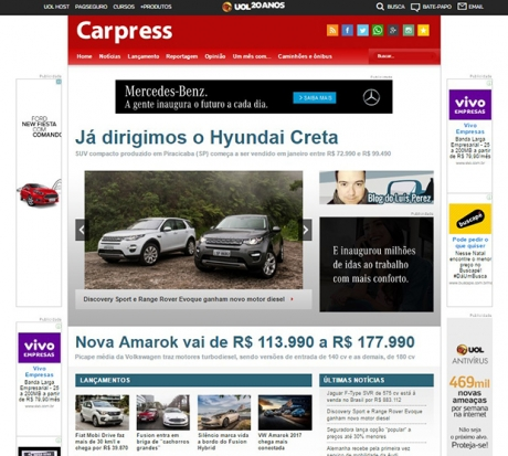 Homepage do Carpress: agora podemos usar o ®
